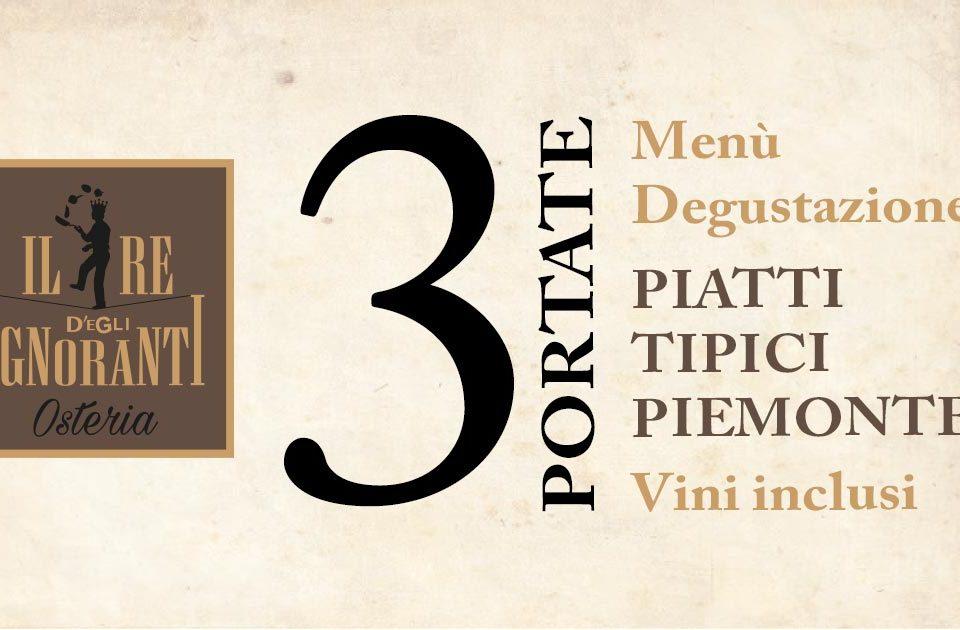 Menù Degustazione 3 Piatti Tipici Piemontesi